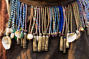 Jo / Hoan bushman traditional beaded jewellry and pipes, Bushmanland, Namibia. - Owen Newman