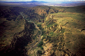Aerial view of gorge, Hell's Gate NP, Great Rift Valley, Kenya - Anup Shah