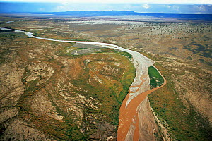 Aerial view of the Sugata river, Sugata valley in the Great Rift Valley, Northern Kenya  -  Anup Shah