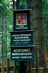 Signs for State Nature Reserve, undisturbed forest, Czech Republic - Paul Johnson