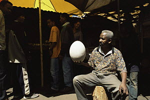 Market trader holding egg of extinct Giant elephant bird {Aepyornis maximus} Madagascar, 2004  -  James Aldred
