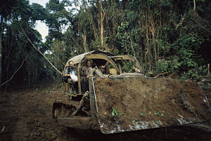 Bulldozer clearing rainforest for timber of Okoume tree {Aucoumea klaineana Pierre} Equatorial Guinea, Central Africa 1999  -  James Aldred