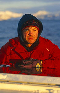 Doug Allan, cameraman, on location for BBC 'Life in the Freezer', Tysfjord, Norway, 1997  -  Martha Holmes