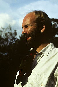 Neil Nightingale, Producer, with Parrot, on location for BBC 'The Natural World - New Guinea', Papua New Guinea, 1991  -  NEIL NIGHTINGALE