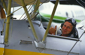 Mike Salisbury in Tiger Moth bi-plane, Cairns, Australia, on location for BBC 'Private Life of Plants', 1992 - Neil Lucas