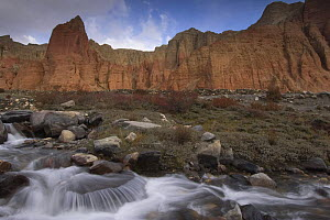 Water flowing down Dhakmar Khola with Red cliffs of Dhakmar in background, Mustang, Nepal  -  Bernard Castelein