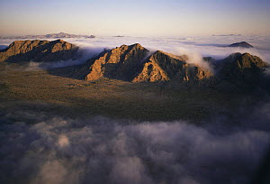 Aerial view of Sierra Hornaday mountains with morning mist pouring through the passes, Biosphere Reserve of Pinacate and Gran Desierto Altar, Sonora, Mexico  -  Jack Dykinga