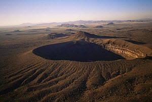 Aerial view of Sykes crater with MacDougal crater and Sierra Hornaday in the background, Biosphere reserve of Pinacate and Gran Desierto Altar, Sonora, Mexico  -  Jack Dykinga