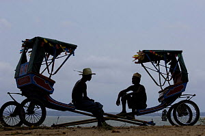 Local rickshaws (Pousse-pousses) introduced to Madagascar by the British missionaries. Majunga Town. NW MADAGASCAR  2005  -  Pete Oxford