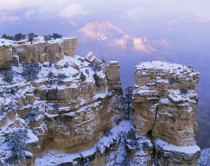 Moran Point, South Rim, Grand Canyon National Park, Arizona, USA with scattering of first winter snow.  -  Jack Dykinga