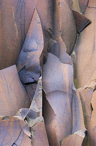 Detail of quarried basalt, Suduroy, Faroe Islands, Denmark. June 2006 - Niall Benvie