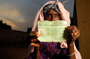 Fulani woman with her refugee identity card, Ndioum camp, North Senegal, West Africa, 2005  -  Laurent Geslin