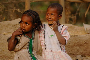 Two children from the black jewish community, Goodhar, North Ethiopia, most jews returned to Israel in the Salomon Operation, 1991, but some remained., 2006  -  Laurent Geslin