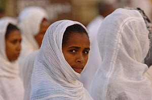 Women dressed in white during the St Marie celebration procession in the street of Gondhar, North Ethiopia, 2006  -  Laurent Geslin