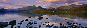 The Cat's Bells and Derwentwater at dawn from nr Keswick, Lake District NP, Cumbria, England, UK  -  David Noton