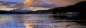 Portree Harbour and the Cullins at dawn, Isle of Skye, Scotland, UK  -  David Noton
