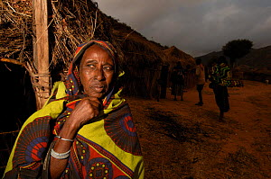 Old woman from the Borona tribe in her village, Omo valley, south Ethiopia. 2006 - Laurent Geslin
