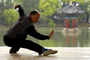 Chinese man doing Tai Chi excercises at Black Dragon Pool with One-Cent Pavilion in background,Lijiang, Yunnan Province, China 2006  -  Pete Oxford