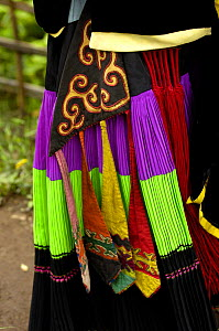 Close up of colourful belt Yi womans clothing - one of the sub-groups of the Yi Ethnic minority people from the mountains near Liuku, Nujiang Prefecture, Yunnan Province, China 2006  -  Pete Oxford