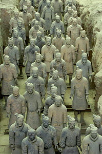 Terracotta Army warriors at the Mausoleum of Qin Shi Huang. Pit number one. Xi'an, Shaanxi Province, China 2006  -  Pete Oxford