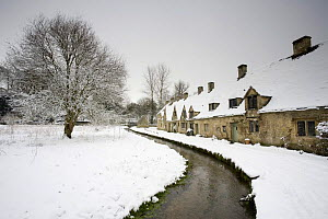 Medieval cottages with a stream at Arlington Row in the winter, Bibury, The Cotswolds, Gloucestershire, England  -  Nick Turner