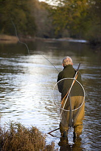 Man fly fishing on the River Usk at the Gliffaes Country House Hotel, Brecon Beacons, Wales  -  Nick Turner