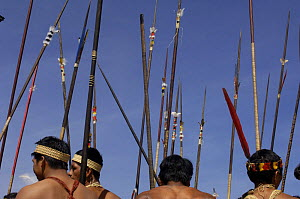Huaorani indian men with spears in Quito for a protest march against Petrobras, a Brazilian oil company who wanted to build another access road into Yasuni National Park, Ecuador, July 2005 - Pete Oxford