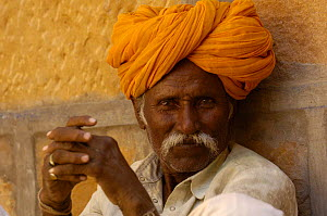 Rajasthani man wearing the traditional moustache and turban, Jaisalmer. Rajasthan, India 2006  -  Pete Oxford