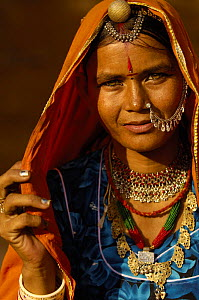 Woman wearing traditional saree and silver jewellery. Jaisalmer. Rajasthan, India 2006  -  Pete Oxford