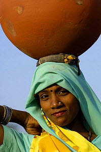 Hindu Woman collecting water from a well, carrying it on her head, near Bharatpur, Rajasthan, India 2006  -  Pete Oxford