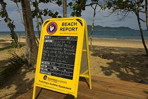 Beach report board, warning people not to swim because of Irukandji and Box Jellyfish, Queensland, Australia  2006 - Jurgen Freund