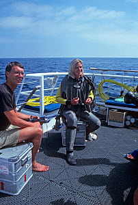 Producer Robin Hellier and presenter Martha Holmes, on board boat filming for BBC NHU series Seatrek 1991 - Georgette Douwma