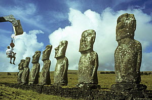 Filming Akivi statues for BBC television programme 'Nomads of the Wind', Easter Island  -  PETER CRAWFORD