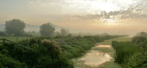 Glastonbury Tor, distant at misty early morning, with River Brue and meadows of the Somerset Levels, UK. Digital Composite  -  John Waters
