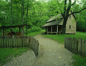 View of Tipton Place in Cades Cove, Great Smoky Mountains NP, Tennessee, USA  -  Kirkendall-Spring