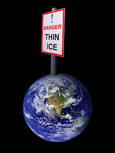 "A conceptual picture of Global warming illustrated through a model of the earth with a sign at the North Pole saying ""Danger, Thin Ice"". - Niall Benvie"