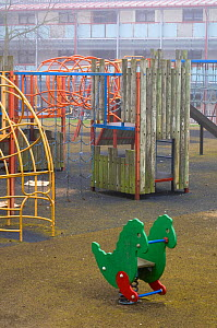 Children�s safe play area, April, Montrose, Scotland, UK - with no living plants  -  Niall Benvie