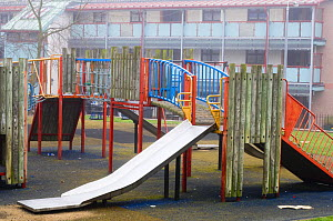 Children�s safe play area, April, Montrose, Scotland, UK, with no grass or plants  -  Niall Benvie