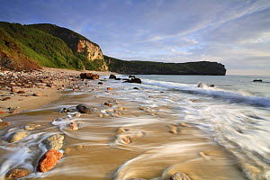 Coastline along Ballota beach, Llanes, Asturias, Spain - with tide going out  -  Jose B. Ruiz