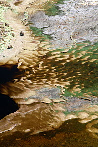 Mineral deposits in R�o Tinto, or Red River, very acidic and coloured by minerals dissolved in the water that drains from the local Riotinto mines causing severe environmental problems. Huelva, Spain.  -  Jose B. Ruiz