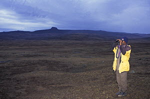 Saltan, conservation worker, looking for Simien jackals / Ethiopian wolves, Bale mountains, Ethiopia  -  Andrew Harrington