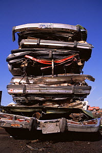 Stack of crushed cars ready for recycling, USA, 1997  -  Shattil & Rozinski