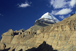 Mount Kailash, Tibet, with steep rock faces in the foreground 2007  -  Gavin Maxwell