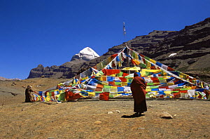 Tibetan Monk and prayer flags, with Mount Kailash in the background, Tibet  -  Gavin Maxwell