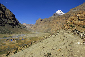 River valley and camp, with Mount Kailash in the background, Tibet  2007  -  Gavin Maxwell