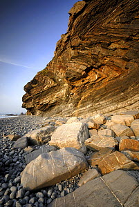Millook rock formation showing rock striations, north Cornwall, UK  -  Ross Hoddinott