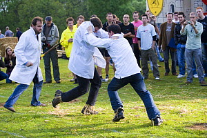 Shin kicking at the Cotswold Olympicks, a medieval custom and sporting event. Dovers Hill, Gloucestershire, UK - Nick Turner