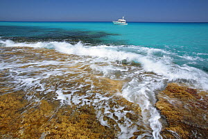 Sea rushing over rocks on the Es Cal� coast, Formentera, Balearic Islands  -  Juan Manuel Borrero