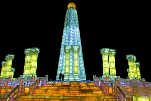 The Harbin Ice Festival, Heilongjiang Province. A whole ice city is built in 18 days by 10,000 people from blocks of ice from the Songhua River. Each block has a neon light running through it. January...  -  George Chan
