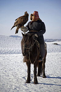 A Kazakh hunter riding horse with his Golden eagle, out hunting in the Altai mountains of Xinjiang Province, north-west China. February 2007  -  George Chan